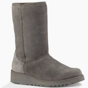 New Ugg Amie Gray Suede Shearling Boots 8